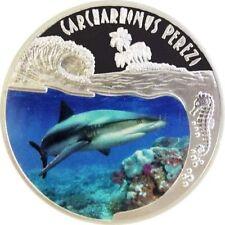 "2010 Rwanda GRAY SHARK ""Carcharhinus Perezi"" Silver Proof Coin *rare"