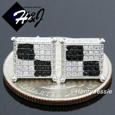 MEN 925 STERLING SILVER 9X9MM BLACK SILVER ICED OUT BLING STUD EARRING*E118