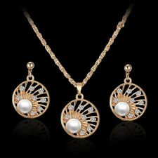 Pearl Women Rhinestone Crystal Round Pendant Necklace Charm Earrings Jewelry Set