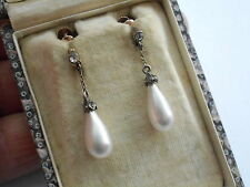 GOOD QUALITY ANTIQUE 9CT ROSE GOLD SILVER PASTE ROMAN GLASS PEARL DROP EARRINGS