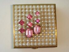 Vintage Gold Tone Pink Rhinestone Pill Box Faux Pearl Seed Beads