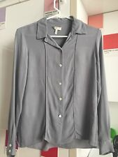 Joie xs 0 2 silk chiffon blouse long sleeve top gray piping button down