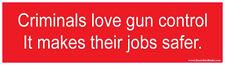 Criminals Love Gun Control Job Safer Bumper Sticker Conservative Decal Pro Gun