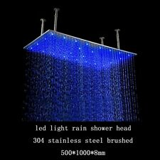 "40"" Rectangular Brushed stainless steel LED Rainfall Large Shower Head Bathroom"