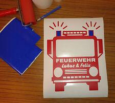 Feuerwehr  Wandtattoo für das Kinderzimmer  mit Wunschbeschriftung!