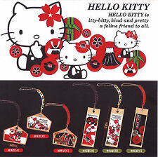 Hello Kitty Japanese Pattern Ema / Kifuda Netsuke Phone Charm Tags 6pc Set 23c64