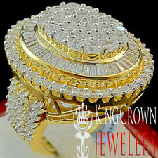 BIG BOLD LADIES REAL 14K YELLOW GOLD SILVER LAB DIAMOND BRIDAL WEDDING RING BAND