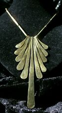 Vintage Brass Bib Necklace Chunky Tiered Pendant Hinged Boho Chic Goldtone Chain