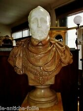 ANTIQUE ITALIAN SCULPTURE BUST IN REAL REAL MARBLE + COLUMN H 180 CM