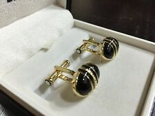 Beautiful MontBlanc Gold Plated Cufflinks with Black Onyx Stone - MINT