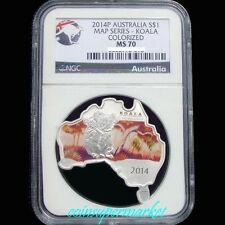 2014P Australia Map Shaped Series #5 Koala 1oz Silver Colorized Coin NGC MS70 !!