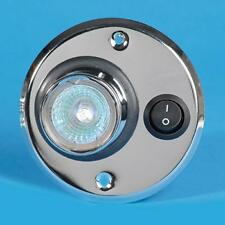 CARAVAN MOTORHOME 12V 10W SWITCHED HALOGEN CIRCLE LIGHT IN CHROME PO762 GZ4