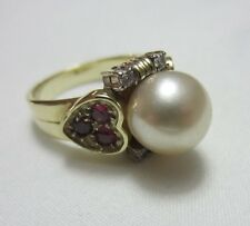 7G ESTATE 14K PEARL RUBY HEART DIAMOND YELLOW GOLD RING KT VINTAGE BAND