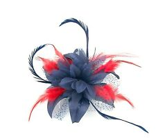 HAIR FASCINATOR in blue and red feathers on a clip, Weddings, Races