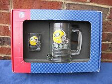Green Bay Packers Glass and shot glassTankard with Fine Pewter Emblem