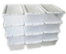 24 STERILITE CLEAR SHOE STORAGE BOXES WITH WHITE LIDS 1 QUART SIZE STERLITE NEW
