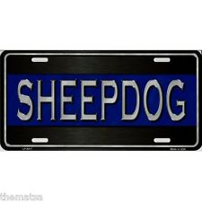 POLICE BLUE LINE SHEEP DOG METAL LICENSE PLATE MADE IN USA