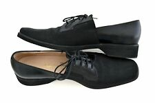 Salvatore Ferragamo Boutique Lace-up Oxfords Black Fabric and Leather 8 1/2 AA