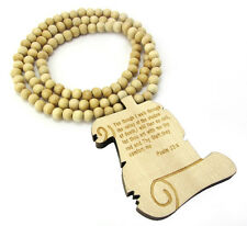 "WOODEN BIBLE PROVERBS PENDANT PIECE & 36"" CHAIN BEAD NECKLACE GOOD WOOD JESUS"