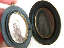 antique Victorian VULCANITE locket  ~ mourning jewellery ~