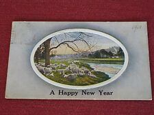 1909 A Happy New Year Postcard Sheep in Pasture Posted VG