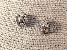 """Vintage Sterling silver partial hoop earrings with gold strip accent 7/16"""""""