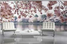Wall mural wallpaper for bedroom & living room Pink flowers Lake 72x100 inch