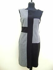 NEW, MAGGY LONDON HOUNDSTOOTH SLEEVELESS STRETCH DRESS COLOR BLOCK BLACK WHITE 8