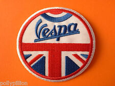 SCOOTER RALLY SEW ON / IRON ON PATCH:- VESPA UNION JACK DISC BLUE SIGNATURE (b)