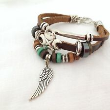 NEW BROWN LEATHER ANGEL WING FEATHER AND BEAD WRAP AROUND CHARM BRACELET