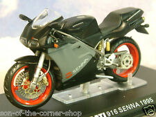 DETAILED IXO DIECAST 1/24 1995 DUCATI 916 SENNA EDITION MOTORBIKE BLACK/GREY/RED