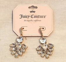 Juicy Couture Gold Rhinestone Faux Diamond Dangle Fan Costume Drop Earrings NEW