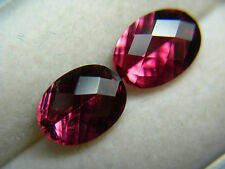 2 rare Rubellite Tourmaline Gems Purple Pink Red Fancy Concave Checkerboard Cut