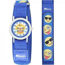Ravel Children's Blue Emoji Watch Hook & Loop Fastening Nylon Strap