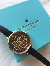 Kate Spade Metro Watch KSW1182 Black Leather Strap Black Mother of Pearl Dial