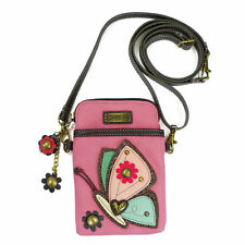 CHALA PINK BUTTERFLY CELL PHONE CROSS BODY PURSE POUCH FAUX LEATHER NWT
