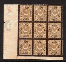 Turkey J31 Postage Due Block of 9 Unused No Gum a459
