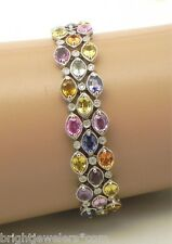 Eye Catching 18k White Gold Multi-Colored Oval Sapphires & Diamonds Bracelet