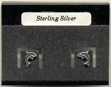 Dolphin Sterling Silver 925 Studs Earrings Carded