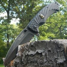 "8"" US ARMY LICENSED SPRING ASSISTED TACTICAL FOLDING KNIFE Serrated SS Blade"
