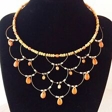 Statement Bib Necklace Choker Natural Wood And Peach Acrylic Beads On A Wire