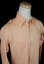 Vtg 60's 70s Male Duds Orange Retro Mod Hippie Big Collar Shirt L OG Pimp