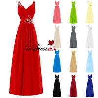 New STOCK Chiffon Formal Evening Prom Party Ball Gown Long Bridesmaid Dress 6-18
