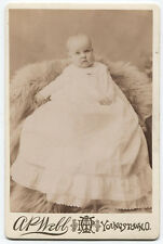 CABINET CARD VERY BEAUTIFUL BABY IN WHITE GOWN ON FUR RUG. YOUNGSTOWN, OHIO.