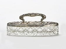 ART NOUVEAU SILVER MOUNTED CUT GLASS POWDER BOX 1907