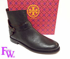 New TORY BURCH Size 8.5 DERBY Black Grain Leather Ankle Boots w/ box 8 1/2