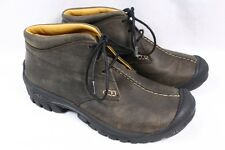 KEEN Boston Chukka Bison Brown Leather 3-eye Ankle Mid Hiking Boots Women 9