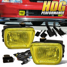 96 97 98 Civic EX DX LX EK Square Yellow Bumper Driving Fog Lights + Lamp Switch