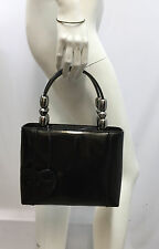 CHRISTIAN DIOR MARIS PEARL PATENT LEATHER PURSE BLACK PEWTER TONE METAL