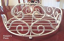 Shabby Cottage Chic Plant Holder White Rope Wrought Iron Floor Style